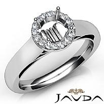 Halo Pave Setting Round Diamond Engagement Semi Mount Ring 14K White Gold 0.20Ct
