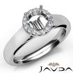 Halo Pave Setting Round Diamond Engagement Semi Mount Ring 14k White Gold 0.2Ct - javda.com