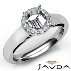 Halo Pave Setting Round Diamond Engagement Semi Mount Ring 14K White Gold 0.20Ct