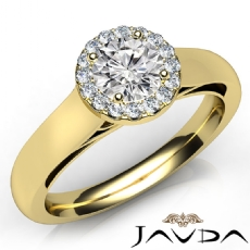 Tapered Cathedral Halo Round diamond engagement Ring in 14k Gold Yellow