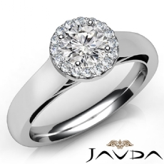 Tapered Cathedral Halo Round diamond engagement Ring in 14k Gold White