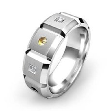 Beveled Edge Diamond Eternity Men's Wedding Band 14k Two Tone Gold 0.35 Ct