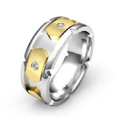 14k Two Tone Gold Men's Round Bezel Set Diamond Eternity Wedding Band 0.40 Ct