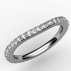 Round Diamond Half Wedding Band Women Eternity 2.2mm Ring 14k White Gold 0.85Ct