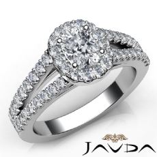 U Cut Pave Halo Split Shank Cushion diamond engagement Ring in 14k Gold White