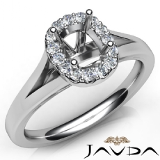 Cushion Diamond Engagement Semi Mount 14K W Gold Halo Pave Setting Ring 0.20Ct