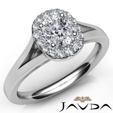 Cathedral Split Shank Halo Cushion diamond engagement Ring in 14k Gold White