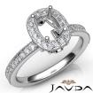 Halo Pave Setting Diamond Engagement 14k White Gold Cushion Semi Mount Ring 0.5Ct - javda.com