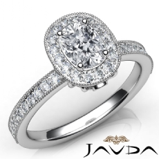 Milgrain Bezel Halo Pave Cushion diamond engagement Ring in 14k Gold White
