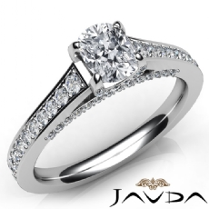 Pave Setting 4 Prong Cushion diamond engagement Ring in 14k Gold White