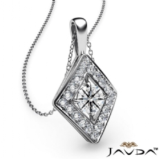 0.40Ct Kite Style Diamond Pendant Necklace In 14k White Gold 18 Inch Chain
