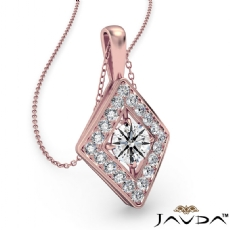 Kite Style Diamond Pendant Necklace In 14k Rose Gold 18 Inch Chain (0.4Ct. tw.)