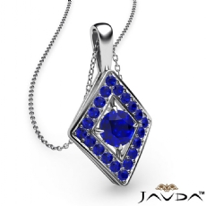 <Dcarat> Kite Style Sapphire Pendant Necklace In 18k Gold White 18 Inch Chain