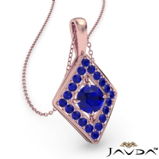 <Dcarat> Kite Style Sapphire Pendant Necklace In 14k Rose Gold 18 Inch Chain