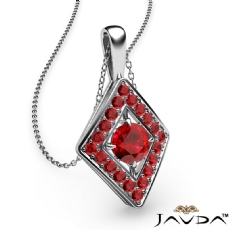0.40Ct Kite Style Ruby Pendant Necklace In 14k White Gold 18 Inch Chain