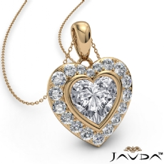 Diamond Halo Heart Charm Pendant Necklace 14k Gold Yellow 18 Inch Chain  (0.56Ct. tw.)