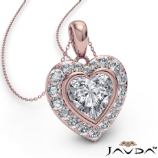 Diamond Halo Heart Charm Pendant Necklace 14k Rose Gold 18 Inch Chain  (0.56Ct. tw.)