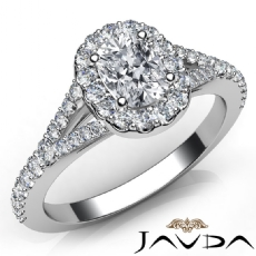 U Cut Pave Split Shank Halo Cushion diamond engagement Ring in 14k Gold White