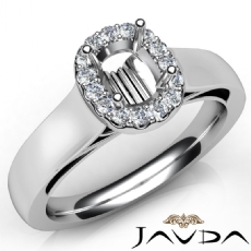 Cushion Diamond Engagement Halo Pave Setting Semi Mount Ring 14K W Gold 0.20Ct