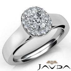 Cathedral Halo U Cut Pave Cushion diamond engagement Ring in 14k Gold White