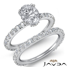 Prong Setting Classic Bridal Oval diamond engagement Ring in 14k Gold White