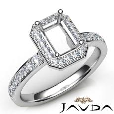 Diamond Engagement Halo Pave Setting Emerald Semi Mount Ring 14K W Gold 0.45Ct