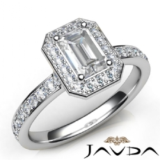 Halo Sidestone Pave Set Emerald diamond engagement Ring in 14k Gold White