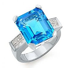 11.5 CT Princess Diamond Blue Tpz Gemstone Ring W Gold