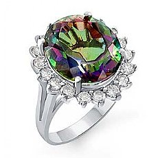 10 Ct Rainbow Topaz and 0.95 ct Diamond Women Ring W Gold