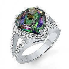 8.1 Ct Rainbow Heart Tpz Vintage Diamond Gemstone Ring WG