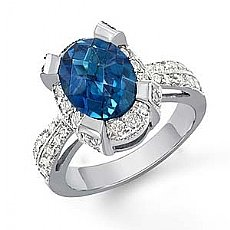 3.82 Ct Oval Blue Tpz Gemstone Vintage Diamond Ring W Gold