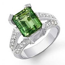 4.62 CT Diamond Green Topaz Gemstone Classic Ring W Gold