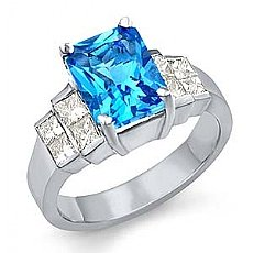 3.80 Ct Princess Diamond Emerald Blue Tpz Gemstone Ring WG