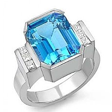 6.55 Ct Princess Diamond Blue Topaz Gemstone Classic Ring WG