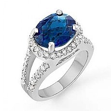 6.2 Ct Oval Blue Tpz Vintage Diamond Gemstone Ring W Gold