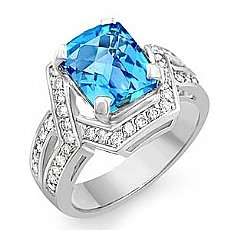 5.55 CT Diamond & Blue Topaz Gemstone fashion Ring W Gold