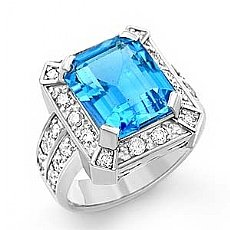 7.60 Ct Emerald Blue Tpz Gemstone Diamond Fashion Ring WG