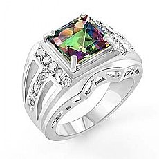 5.20 Ct Rainbow Tpz Gemstone Diamond Fashion Ring W Gold
