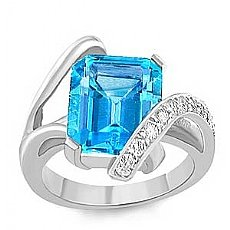 6.80 Ct Emerald Blue Tpz Gemstone Diamond fashion Ring WG