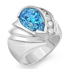 4.1 Ct Pear Cut Blue Tpz Gemstone Diamond Fashion Ring WG