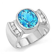 5.45 CT Oval Blue Topaz Gemstone Diamond Ring 14k W Gold