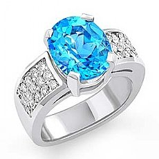 5.20 CT Oval Blue Topaz Gemstone Diamond Fashion Ring WG