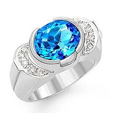 4.65 CT Oval Blue Topaz Gemstone Diamond Ring 14k Gold