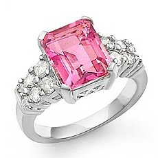 5.25 Ct Emerald Pink Topaz Gemstone Diamond Ring 14k W Gold