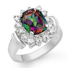 4.10 Ct Rainbow Topaz Gemstone Diamond Ring 14k W Gold
