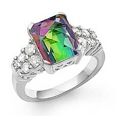 5.25Ct Rainbow Topaz Gemstone Diamond Ring 14k Gold