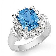 3.45 Ct Blue Topaz Gemstone Diamond Fashion Ring 14k Gold