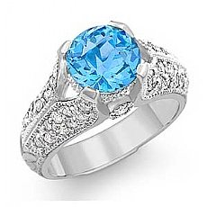3.6 CT Blue Topaz Gemstone & Diamond Women Ring 14K Gold