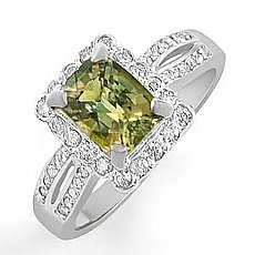 2.15 Ct Emerald Green Topaz Gemstone Diamond Ring 14k Gold