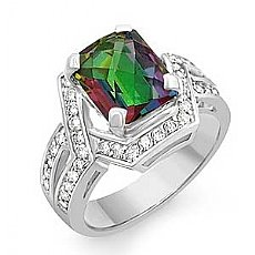 4.95CT Rainbow Topaz & Diamond Fashion Gemstone Ring Gold